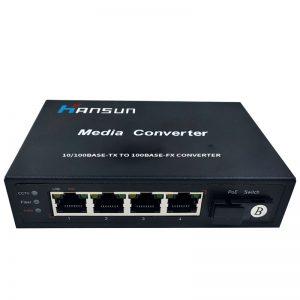 4RJ45 Single-fiber media converter