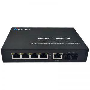 4RJ45 10/100/1000M Dual-fiber Media Converter